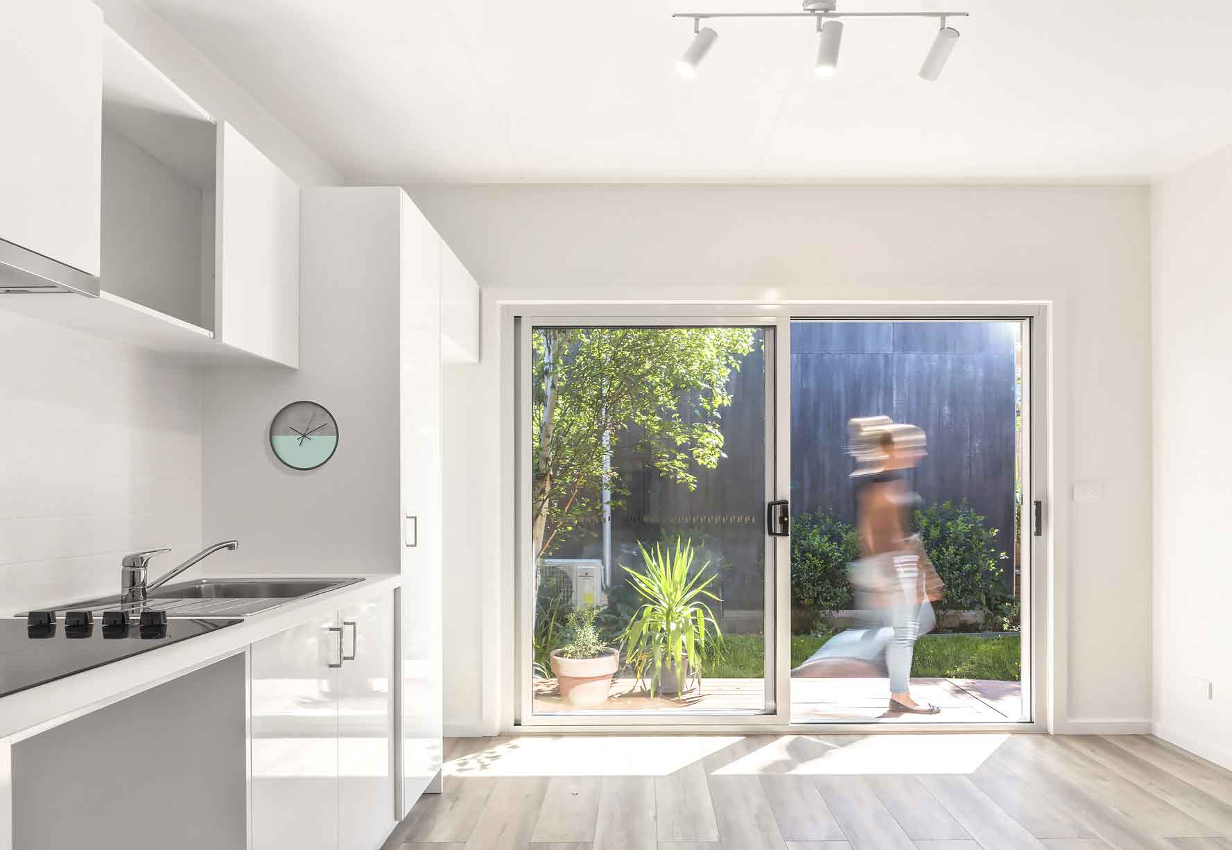 Interior of one of our granny flats Melbourne featuring one of our kitchens.